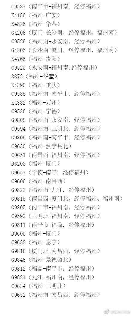 福州火车站今日增开新增列车34列