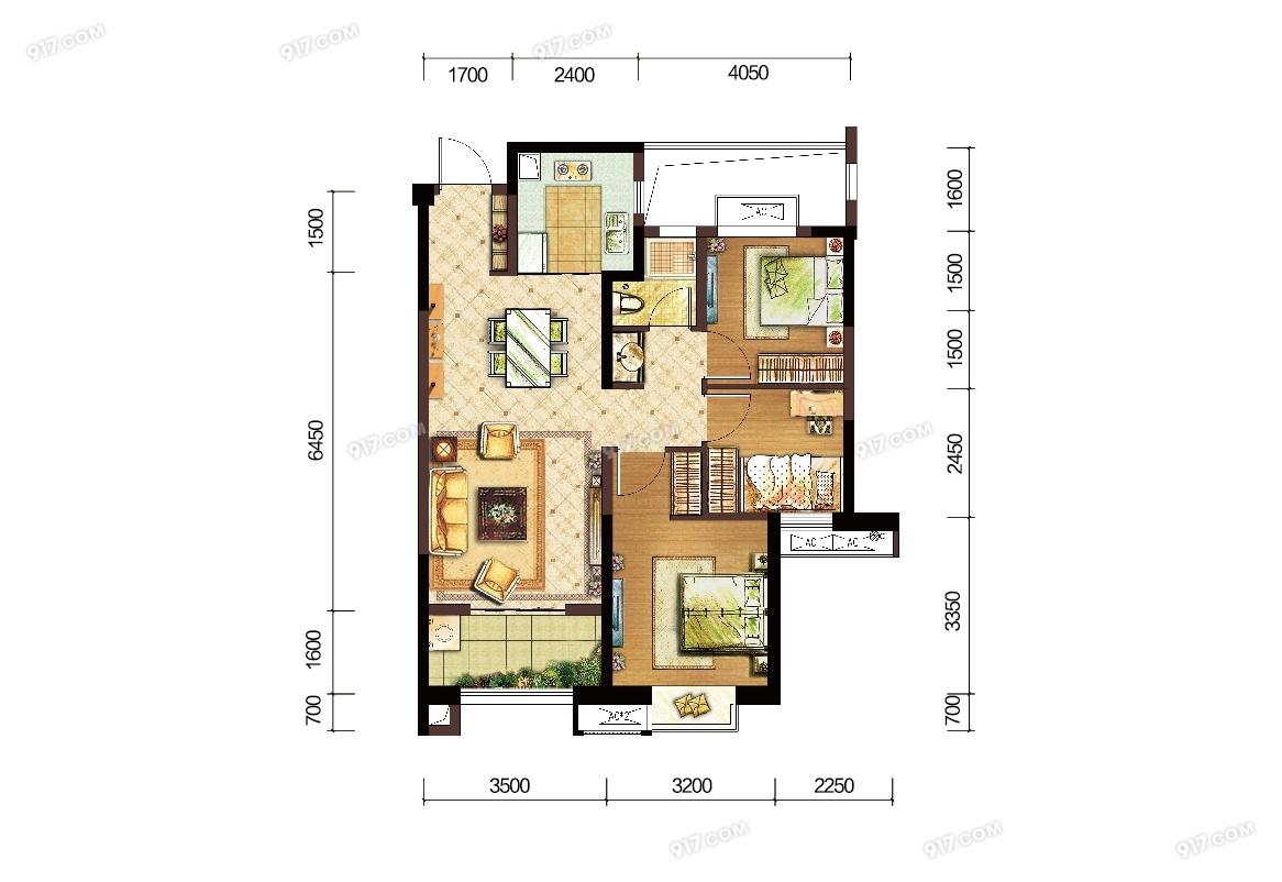 C户型89㎡三房两厅一卫