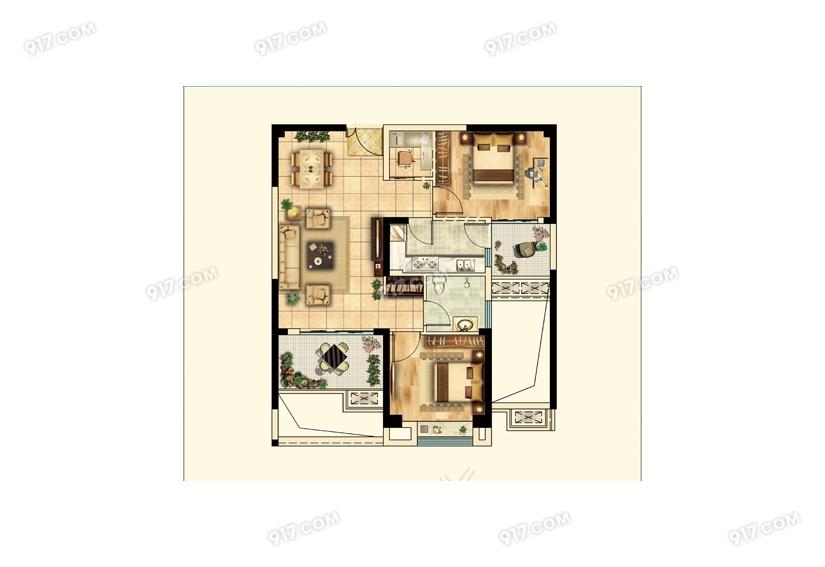 A3户型82㎡ 2室2厅1卫