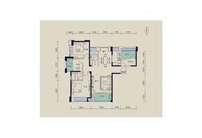 128平 三室两厅两卫--户型图