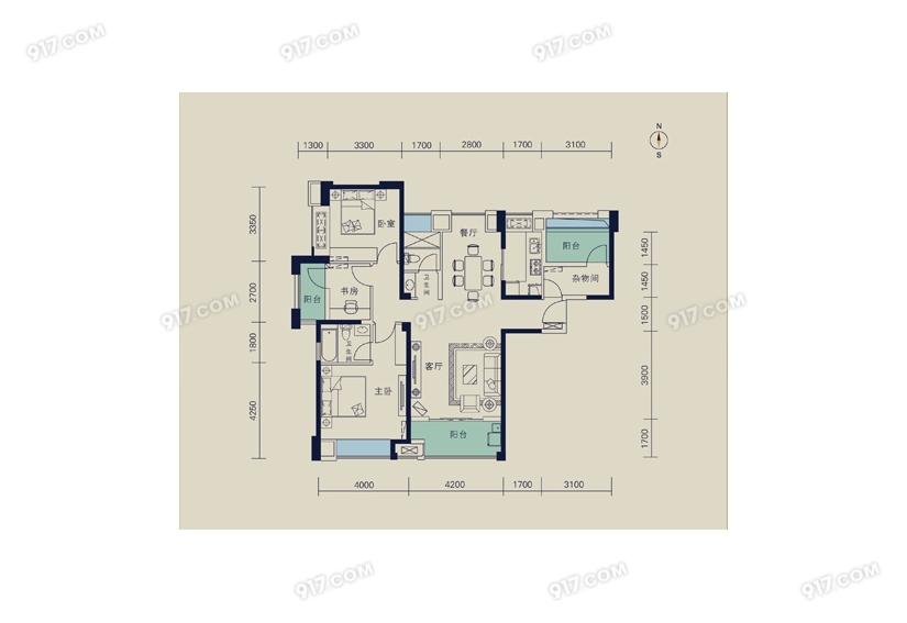 128平 三室两厅两卫