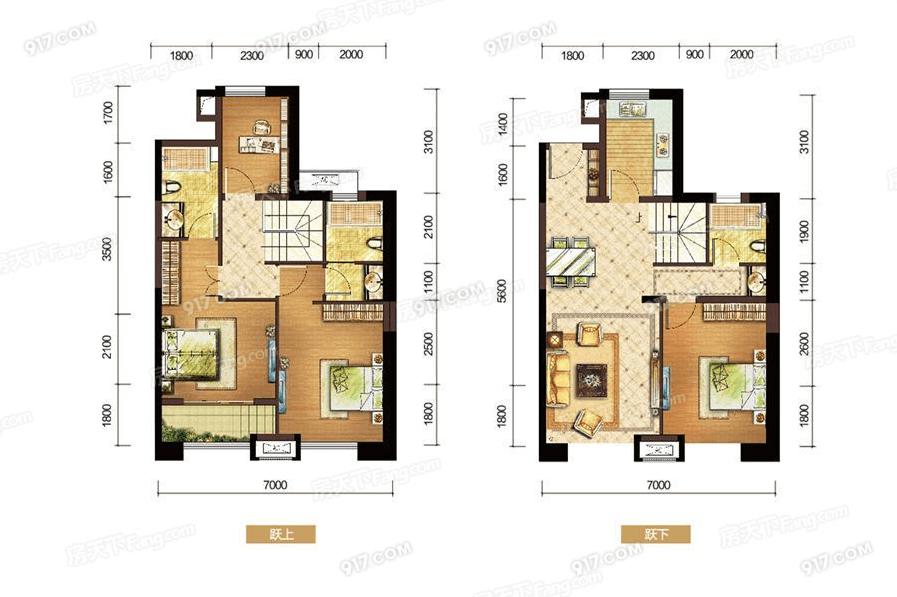 E户型120㎡四房两厅三卫