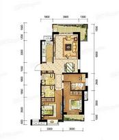A户型108㎡三房两厅两卫--户型图