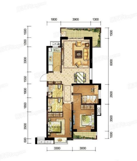 A户型108㎡三房两厅两卫
