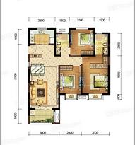 F户型118㎡三房两厅两卫--户型图