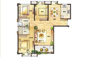 C户型100-121㎡ 3室2厅2卫--户型图