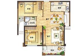 A户型85㎡ 2室2厅1卫--户型图