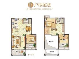 E户型120㎡ 3室2厅2卫--户型图