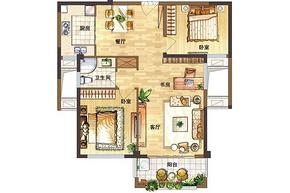 D户型88㎡ 2室2厅1卫--户型图