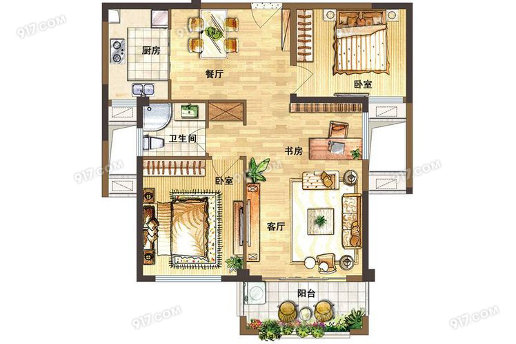 D户型88㎡ 2室2厅1卫