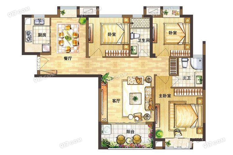 B户型100㎡ 3室2厅2卫