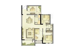 2户型87㎡ 3室2厅2卫--户型图