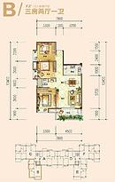 B户型 3室2厅1卫--户型图