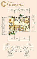 C户型 4室2厅2卫--户型图