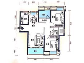 96平 3室2厅1卫--户型图