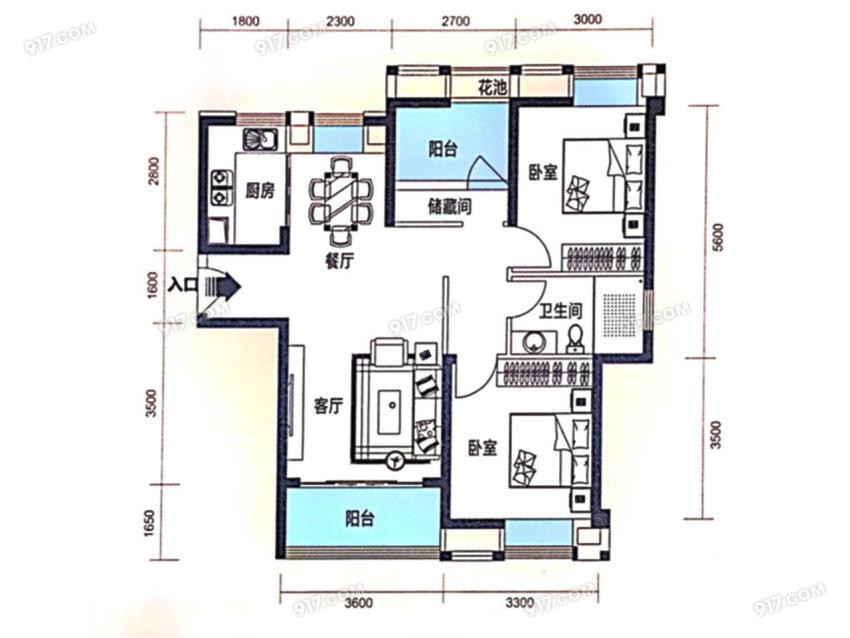 96平 3室2厅1卫