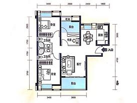 108平 3室2厅2卫--户型图