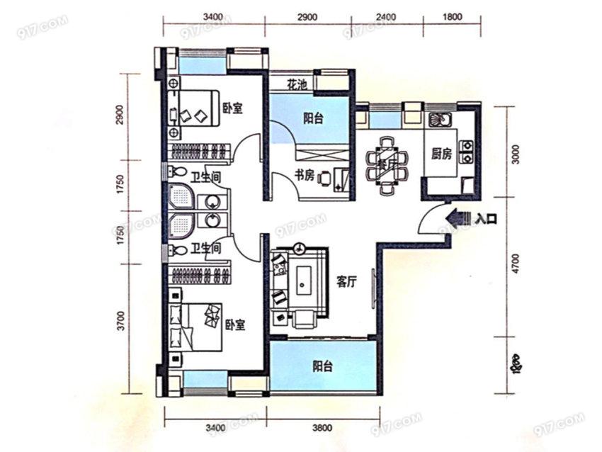 108平 3室2厅2卫