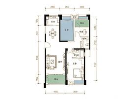 109平 2室2厅2卫--户型图