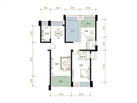 110平 2室2厅2卫--户型图