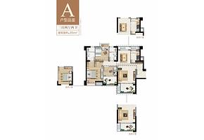 A户型89㎡三房两厅两卫--户型图