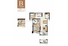 B户型81㎡三房两厅一卫--户型图