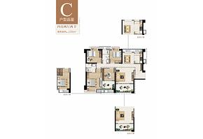 C户型108㎡四房两厅两卫--户型图