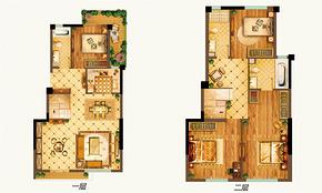 中叠B户型118平 4室1厅3卫--户型图