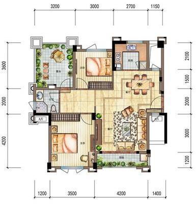 洋房G1户型85㎡ 2室2厅1卫