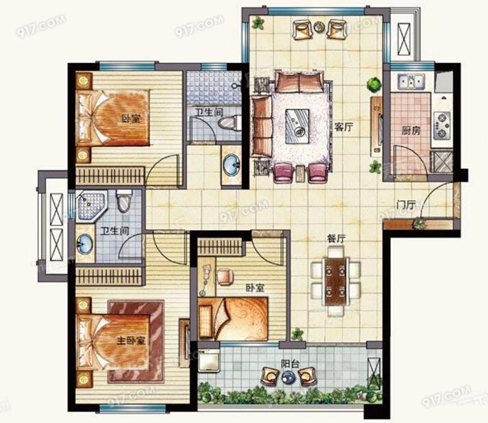 D1户型99㎡ 3室2厅2卫