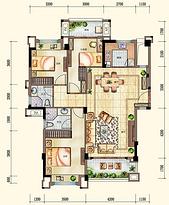 洋房105㎡户型 3室2厅2卫--户型图
