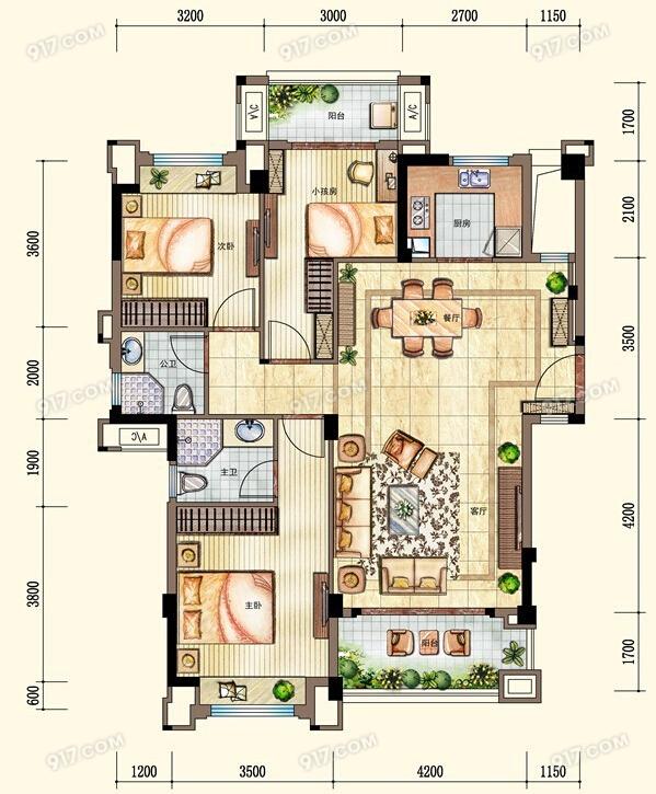 洋房105㎡户型 3室2厅2卫