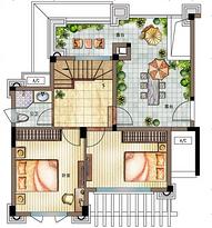 H1户型二层112㎡ 3室2厅2卫--户型图