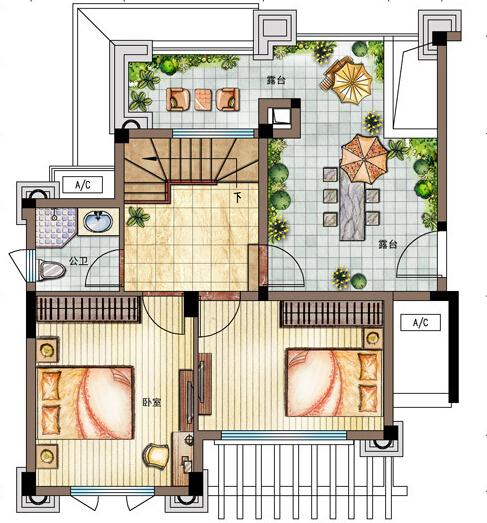H1户型二层112㎡ 3室2厅2卫