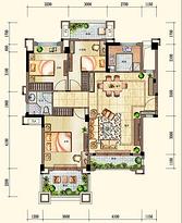 洋房1F户型96㎡ 3室2厅1卫--户型图