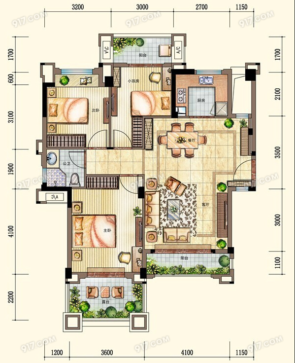 洋房1F户型96㎡ 3室2厅1卫