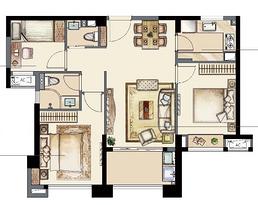 B1 95平 三室两厅两卫--户型图
