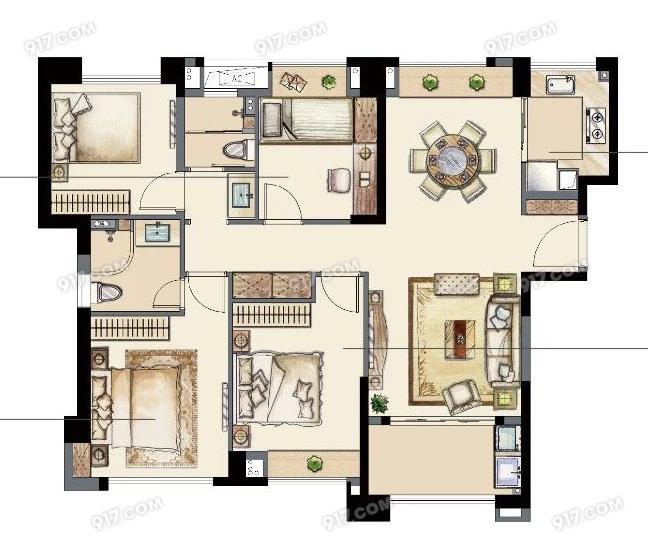 D户型131平 四室两厅两卫