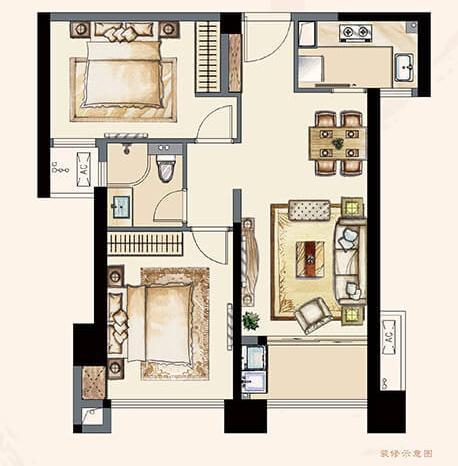 A2户型86平 两室两厅一卫