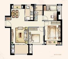 B2户型95平 三室两厅一卫--户型图