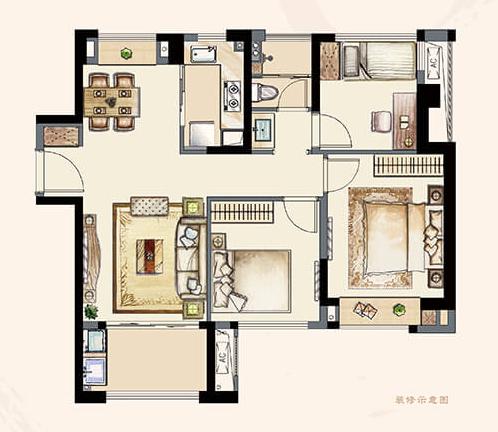 B2户型95平 三室两厅一卫