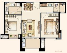 A1户型84平 两室两厅一卫--户型图