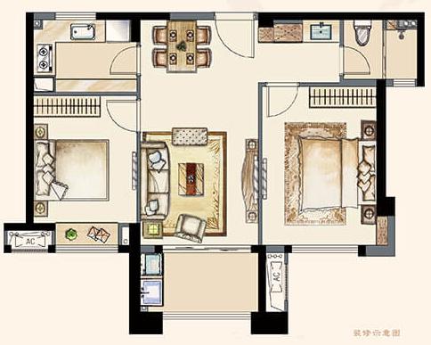 A1户型84平 两室两厅一卫