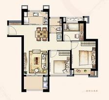 B4户型95平 三室两厅一卫--户型图