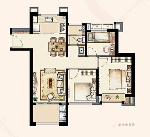 B4户型95平 三室两厅一卫