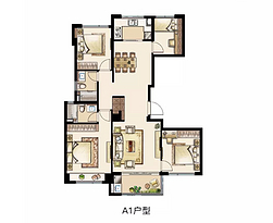 131平 四室两厅两卫--户型图
