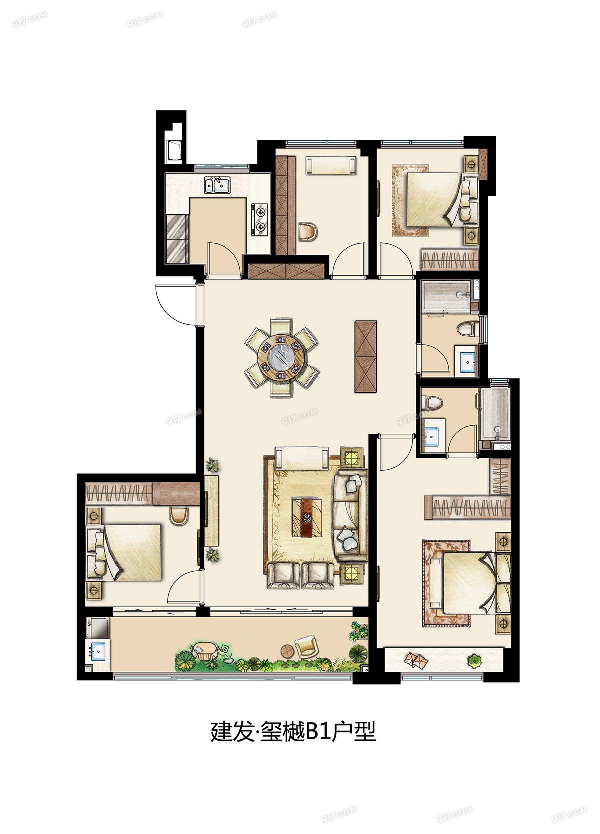 B1 143平 四室两厅两卫