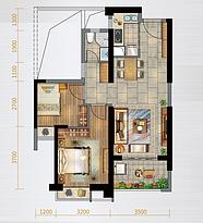 D户型85㎡三房--户型图