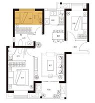 C4、5户型 91平米3房2厅2卫--户型图