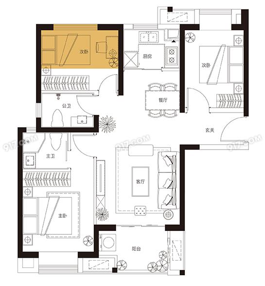 C4、5户型 91平米3房2厅2卫